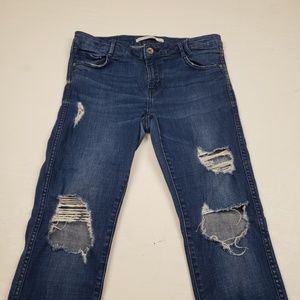 Zara slim straight leg distressed jeans